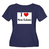 I Love Sea Lions Women's Plus Size Scoop Neck Dark