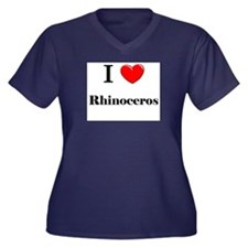 I Love Rhinoceros Women's Plus Size V-Neck Dark T-