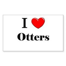 I Love Otters Rectangle Decal
