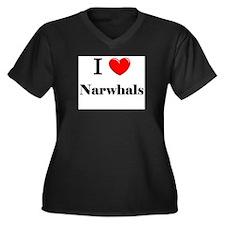 I Love Narwhals Women's Plus Size V-Neck Dark T-Sh