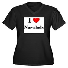 I Love Narwhals Women's Plus Size V-Neck Dark T-Sh