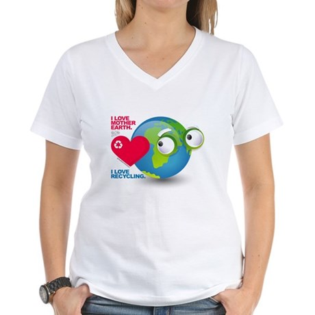 I Love Mother Earth. I love R Women's V-Neck T-Shi
