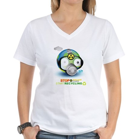 Stop Nuclear Energy. Recycle Women's V-Neck T-Shir