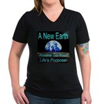 A New Earth Women's V-Neck Dark T-Shirt