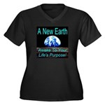 A New Earth Women's Plus Size V-Neck Dark T-Shirt