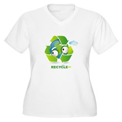Recycle Women's Plus Size V-Neck T-Shirt