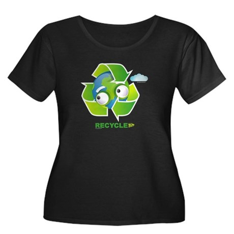 Recycle Women's Plus Size Scoop Neck Dark T-Shirt