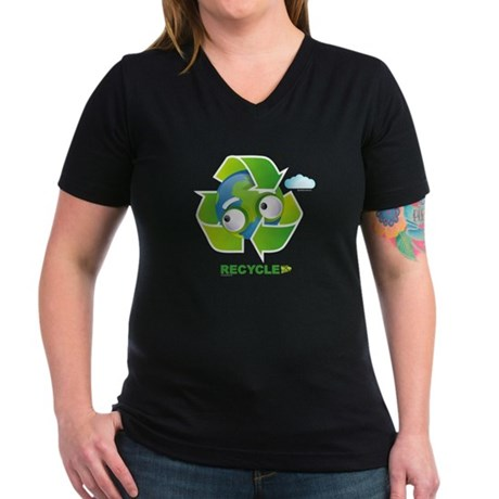 Recycle Women's V-Neck Dark T-Shirt