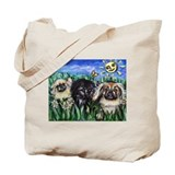 Happy Pekes under the smiling Tote Bag