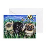 Happy Pekes under the smiling Greeting Card
