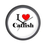 I Love Catfish Wall Clock