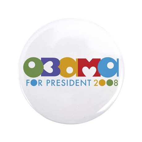 Funky I Heart Obama 3.5&quot; Button