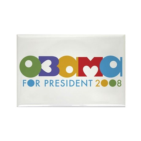 Funky I Heart Obama Rectangle Magnet