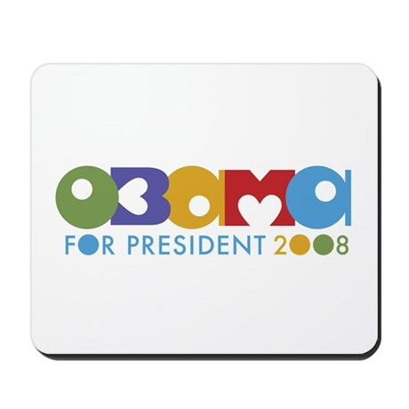 Funky I Heart Obama Mousepad
