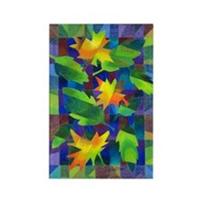 Leaf Mosaic Rectangle Magnet