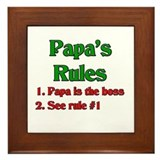Italian Papa's Rules Framed Tile