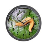 Banana Slug on Leaf Wall Clock
