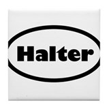 Halter black and white Tile Coaster