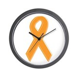 Orange Awareness Ribbon Wall Clock