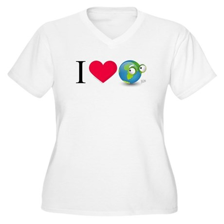 I Love Earth t-shirt Women's Plus Size V-Neck T-Sh