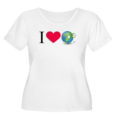 I Love Earth t-shirt Women's Plus Size Scoop Neck