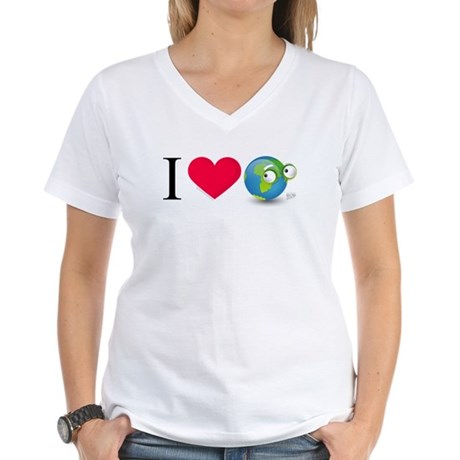 I Love Earth t-shirt Women's V-Neck T-Shirt