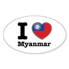 I love Myanmar Oval Decal