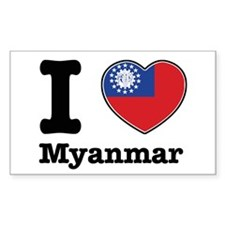 I love Myanmar Rectangle Decal
