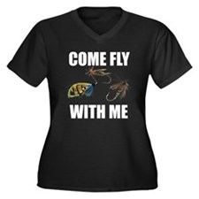 Come Fly With Me Women's Plus Size V-Neck Dark T-S