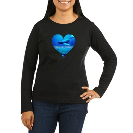 Save the Whales Women's Long Sleeve Dark T-Shirt