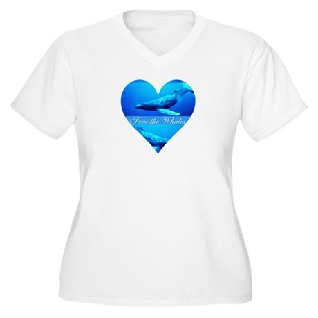 Save the Whales Women's Plus Size V-Neck T-Shirt
