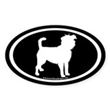 affenpinscher oval (wh on blk) Oval Decal