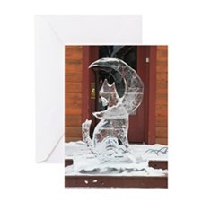 Ice Sculpture Howling Wolf Greeting Card