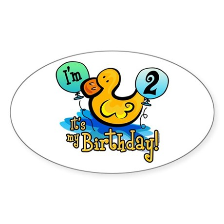 Ducky Birthday 2nd Oval Sticker
