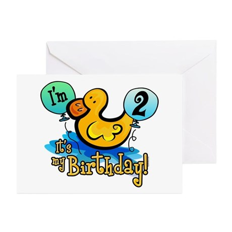 Ducky Birthday 2nd Greeting Cards (Pk of 20)