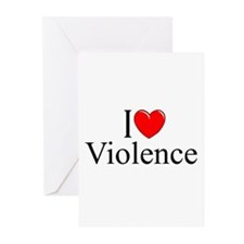 """""""I Love Violence"""" Greeting Cards (Pk of 10)"""
