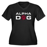 Alpha Dog Women's Plus Size V-Neck Dark T-Shirt