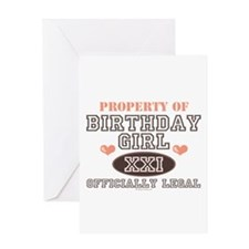 Property of 21st Birthday Girl Greeting Card