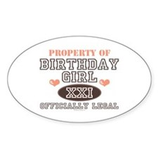 Property of 21st Birthday Girl Oval Decal