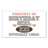 Property of 21st Birthday Girl Sticker (Rectangula