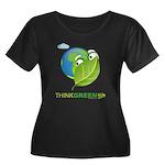 Think Green Women's Plus Size Scoop Neck Dark T-Sh