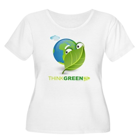 Think Green Women's Plus Size Scoop Neck T-Shirt