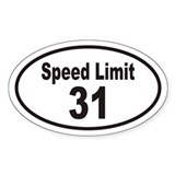 Speed Limit 31 Euro Oval Sticker v2