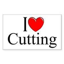 """I Love Cutting"" Rectangle Decal"