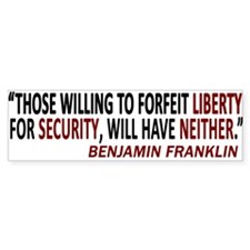 SECURITY LIBERTY Bumper Bumper Sticker