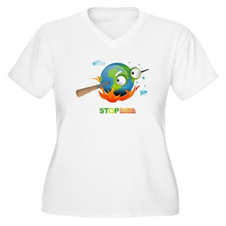 Earth Skewer Women's Plus Size V-Neck T-Shirt