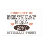 Property Of 16th Birthday Girl Postcards 8 Pack