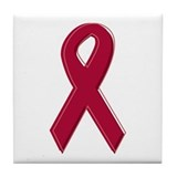 Burgundy Awareness Ribbon Tile Coaster