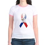 Patriotic Ribbon w/Eagle #3 Jr. Ringer T-Shirt