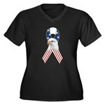 Patriotic Ribbon w/Eagle #2 Women's Plus Size V-Ne